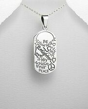"925 sterling silver pendant w/ message ""be yourself, shine, enlighten, love....."