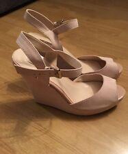 **Chaussures Compensées Sandales Rose Poudré**