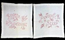 Antique Redwork Embroidery Pillow Layover Set 2 Joyful Awakening Peaceful Sleep