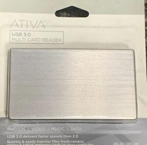 New ATIVA USB 3.0 Multi Card Reader Office Depot Brand For Photos Video Data