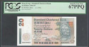 Hong Kong 20 Dollars 1-1-1996 P285b Uncirculated Grade 67