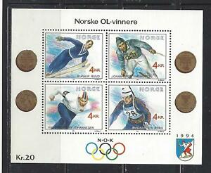 NORWAY - 997 S/S - MNH - 1991 - NORWAY GOLD MEDAL WINNERS, WINTER OLYMPIC GAMES