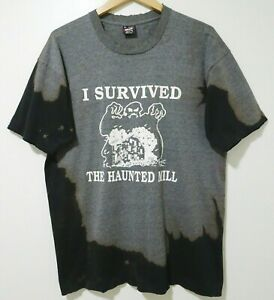 XL Vtg 90s I Survived The Haunted Mill Halloween Ghost Distressed 50/50 T-Shirt