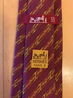 Hermes Paris Made in France Red Stirrup/Stripes Pattern Silk Tie 950 LA