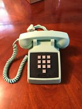 Vintage Aqua Blue Push Button Desk Phone Western Electric Bell System