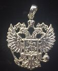 Russian Double Head Imperial Eagle Flag Charm Pendant Solid Sterling Silver