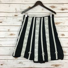 Woman's Odille Anthro Size 10 Lace Striped A-Line Cotton Lightweight Skirt Multi