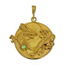 YIN YANG Dragon Tiger 24K Gold PLATED Sterling silver 925 EMERALD PENDANT CHARM