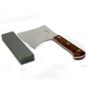 BANILI AXE CHOP Knife Meat Cleaver 897g 15cm S/S Blade W Comb Sharpening Stone