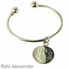 925 Sterling Silver Round Keychain Monogrammed Engraving