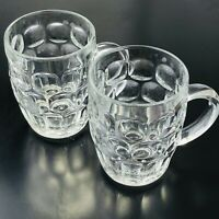 VINTAGE Set of 2 France Thumbprint Dimple Glass Beer Mugs Cups 1970s