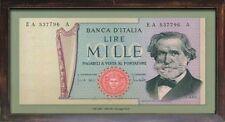 BANCONOTA LIRA  ITALIANA QUADRO CORNICE LEGNO INSEGNA BAR PANNELLO PUB VINTAGE