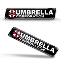 2 x 3D Gel Silicone Domed Stickers Decals Umbrella Corporation Badge Logo Emblem
