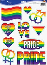 Lesbian Gay Pride LGBT wall stickers 10 decals rainbow heart flag room decor