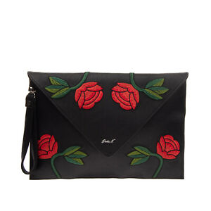 GIULIA N Wristlet Clutch Bag Large Grainy Embroidered Flowers Magnetic Flap