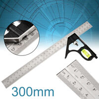 12'' Adjustable Engineers Combination Try Square Set Right Angle Ruler Tool