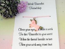 Friendship Pink Unicorn Wish Bracelet Friends Gift Resin Charm Anklet Birthday