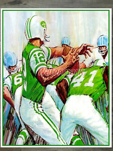 Vintage NFL Joe Namath New York Jets Art Reprint Poster  Color 8 X 10 Photo
