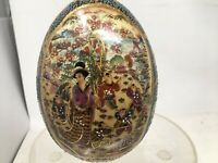 "Vtg 7"" ROYAL SATSUMA MORIAGE EGG Hand Painted Porcelain Japan Fishermen Geisha"