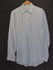 ERMENEGILDO ZEGNA Light Blue White Grid Plaid Cotton Dress Shirt SZ 41/16