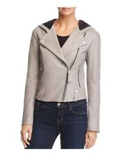 Mackage Keegan Women's Jacket XS Mineral Grey Leather Hooded Moto Coat