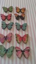10 Misti Bottoni in Legno Farfalla Colorati 28 mm x 20 mm