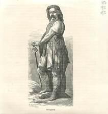 Vercingétorix chef gaulois peuple Arvernes Gaule contre Jules César GRAVURE 1883