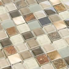 Glasmosaik Fliesen Naturstein Metall Mosaik Glass-Stone Hedge Dark