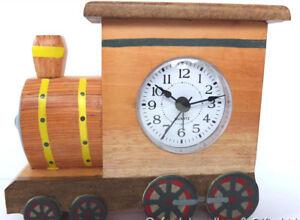 TRAIN SHAPED ALARM CLOCK. HAND CRAFTED WOOD. FAIR TRADE. QUARTZ MOVEMENT. XMAS!!