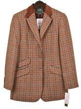 NWT Lauren Ralph Lauren Brown Club Check TWEED HACKING Coat Jacket Blazer 6 NEW