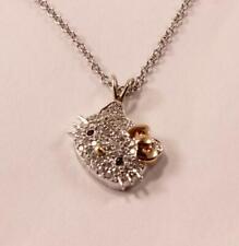KLS KIMORA LEE SIMMONS HELLO KITTY 18K GOLD DIAMONDS SLANTED NECKLACE PENDANT