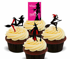 Halloween Sexy Witches - Edible Cup Cake Toppers, Standup Fairy Bun Decorations