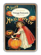 Cavallini Co Halloween Glitter Greetings Vintage Postcard Set