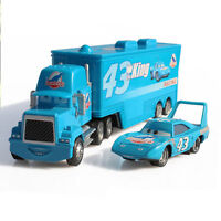 2pcs Disney King Pixar Cars Hauler Dinoco Mack Super Liner Truck Diecast Kid Toy
