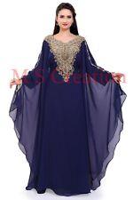 Oferta Marroquí Nave Azul Georgette Caftán Dubái Abaya Farasha Caftán Ms 0458