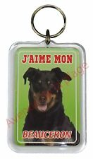 """Porte clé chien """"J'aime mon Beauceron"""" chien idée cadeau pas cher NEUF"""