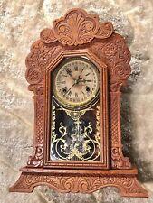 VINTAGE ANTIQUE USA WATERBURY CALENDAR ,TIME,STRIKE CLOCK ,KEY WOUND MOVEMENT.