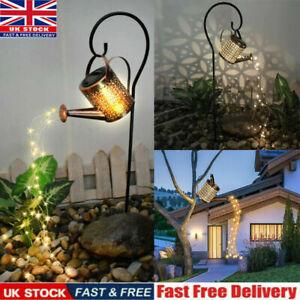 Solar Powered Garden Watering Can LED String Light Outdoor Art Lamp Decor Hollow