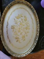 Vintage Mirror Vanity Tray Perfume Large Brass Gold Tone Oval Gold Filigree LOOK