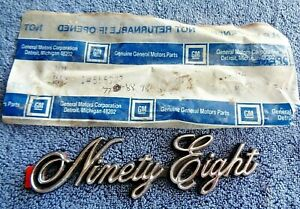 NOS NEW OEM Original 77-88 Ninety Eight REGENCY Chrome Nameplate Ornament Emblem