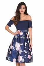 AX Paris Womens Midi Skater Dress Navy Floral 2 in 1 Off Shoulder Short Sleeve