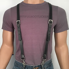 LEATHER SUSPENDERS BRACES Genuine COWHIDE Biker PUNK Hand Made U.S. 5 sizes