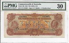 AUSTRALIA R55 (1927) 10 Pounds-Riddle/Heathershaw KGV PMG 30 VERY FINE RARE COND