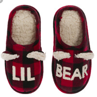 NWT - D'Luxe by Dearfoams Kids Lil' Bear Buffalo Check Clog Slipper - US 2/3