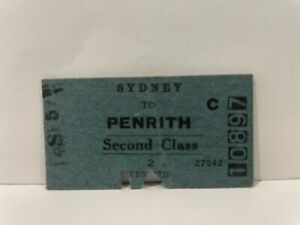NSWGR Railway Second Class Ticket Sydney to Penrith 1957