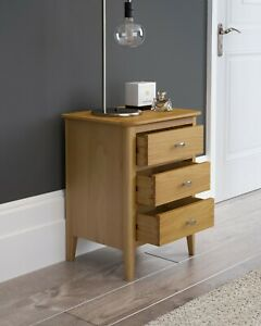 Retro Oak Small Bedside Cabinet Table / Scandi Solid Wood Bedroom Chest Drawers