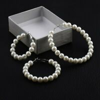 Fashion Women Pearl String Circle Drop Dangle Ear Stud Earrings Wedding Jewelry