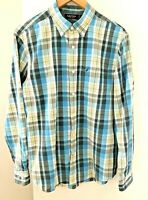Nautica Men's size M Shirt Multi-Coloured Plaid Long Sleeve Button Up Collar