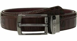 """Ted Baker Mens Belt - Leather - Reversible - 32""""/81 cm - Chocolate - RRP £59"""