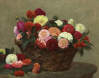 Oil painting Henri Fantin Latour - Nice Flowers in basket on table canvas